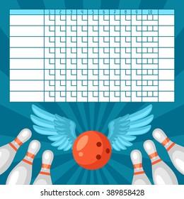 Bowling score sheet. Blank template scoreboard with game objects.