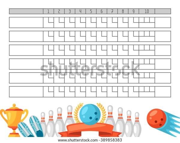Image Vectorielle De Stock De Feuille De Score De Bowling Tableau 389858383