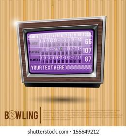 Bowling scoreboard, bowling alley, surface of a bowling