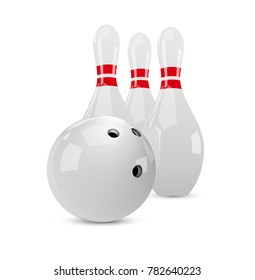 Bowling set. Realistic white balls and skittles. Vector illustration.