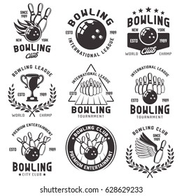 Bowling set of vector emblems, badges and labels in vintage monochrome style isolated on white background