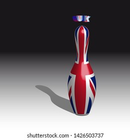 Bowling skittle flag united kingdom of great britain on black and white background