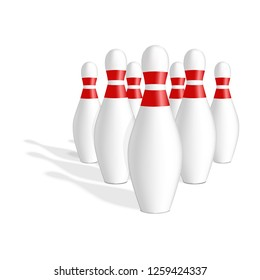Bowling skittle icon. Realistic illustration of bowling skittle vector icon for web design isolated on white background