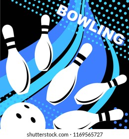 Bowling. Skittles and a ball on a black background. Sports poster. Vector image.
