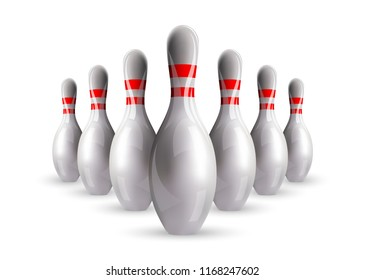 Bowling. Skittles with a ball. Realistic vector image.