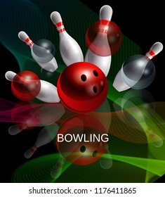 Bowling. Skittles and balls with a mirror image on the glass. Night image. Realistic vector poster. 3D.