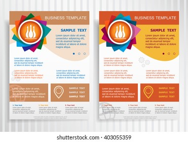 Bowling skittles icon on abstract vector brochure template. Flyer layout. Flat style.