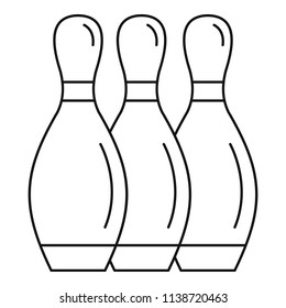 Bowling skittles icon. Outline bowling skittles vector icon for web design isolated on white background