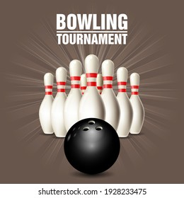 Bowling skittles set and bowling ball, competition poster, vector
