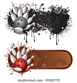 bowling sport and grunge ink