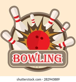Bowling sport, logo, sign, symbol emblem with ball and pins