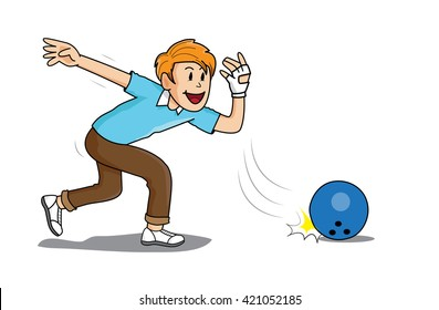 bowling sport man illustration