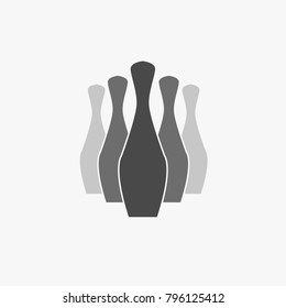 bowling sport vector icon five bowling pins fading