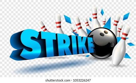 Bowling strike blue color. Vector clip art illustration.