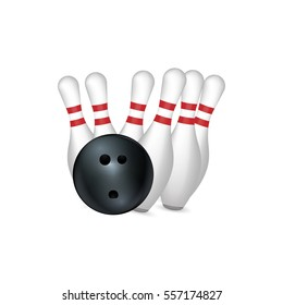 bowling strike isolated on white. Vector illustration.