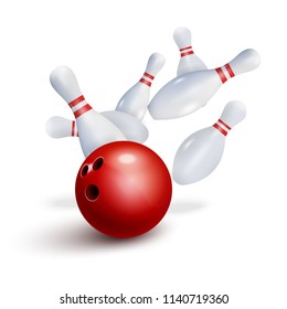 Bowling strike realistic illustration background. Bowling club poster design