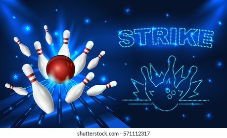 Bowling strike template. Tv size banner. Vector clip art illustration.