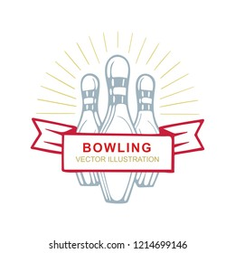 Bowling. Bowling symbol vector illustration.