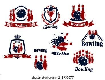 Bowling team or club emblems and icons with bowling balls, ninepins, alley, trophy, shields, banners, crowns, wreath and captions Bowling, Strike in dark blue and red colors
