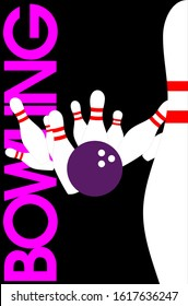 Bowling themed vector graphics teamwork. Posters can be made for sports clubs or competitions. Banner or gift card.