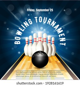 Bowling tournament flyer template with bowling court, skittles and ball, vector