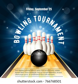 Bowling tournament flyer template with bowling court, skittles and ball