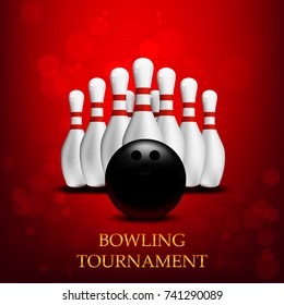 Bowling tournament poster. 3d ball and skittles composition. Vector template.