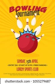 Bowling tournament poster, flyer or banner design.