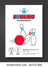 Bowling tournament poster vector template. Flyer with line illustration bowling ball and skittles.