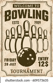 Bowling tournament poster in vintage style vector illustration with grunge textures and sample text on separate layers