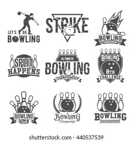 Bowling vector logotypes, emblems and badges set. Club gaming play, skittle and strike illustration. Template for club, tournament, champion, challenge.