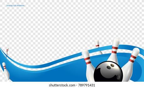 Bowling wave blue. Tv size banner. Vector clip art illustration.