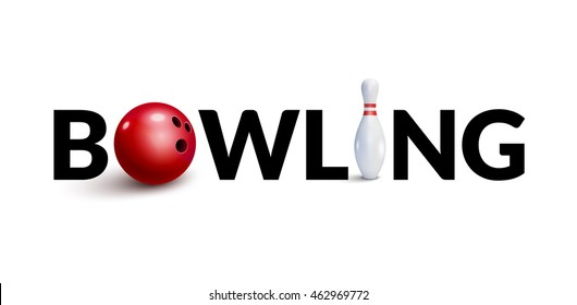 Bowling word 3d design template. Bowl and skittle 3d concept of bowling club.