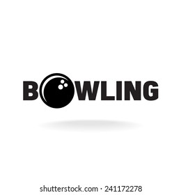 Bowling word logo with ball in O letter place.