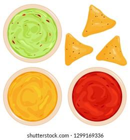 Bowls of avocado guacamole dip, tomato salsa, cheese sauce and nachos chips. Top view.