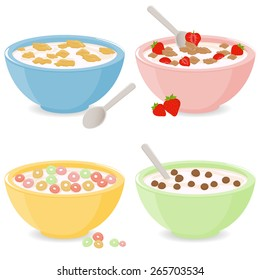 Bowls of breakfast cereal in different flavors. Vector illustration