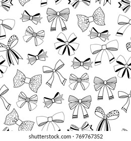 Bows. Black and white illustration, seamless pattern for coloring pages. Decorative and festive background.