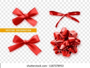 Bows color red realistic design. Isolated gift bows with ribbons with shadow.