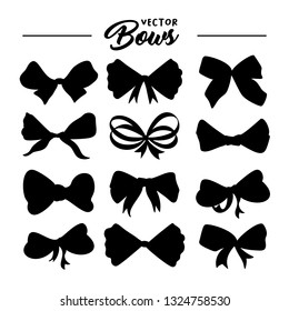 Bows hand drawn illustrations set. Ribbon knots black silhouettes. Ink pen abstract texture. Bowknots cliparts. Bow-tie sketches collection. Greeting card, party invitation isolated design elements