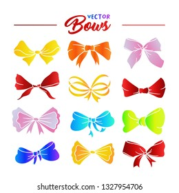 Bows hand drawn illustrations set. Rainbow ribbon multicolor gradient knots. Festive bowknots cartoon cliparts. Bow-tie sketches collection. Greeting card, party invitation isolated design elements