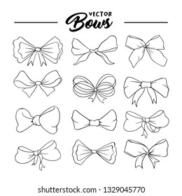 Bows handdrawn illustrations set. Ribbon knots linear drawings. Ink pen bowknots contour cliparts. Bow-tie sketches outline collection. Coloring book, greeting card thin line isolated design elements