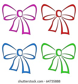 Bows multi-coloured, set, monochrome openwork pictograms, isolated