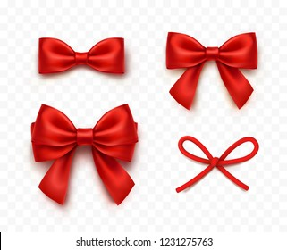 Bows set isolated on transparent background. Vector Christmas red satin ribbons and string or cord bow, xmas wrap elements with shadow.