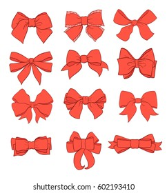 Bows set. Red color with contour lines hand drawn vector Illustration Isolated on white background.