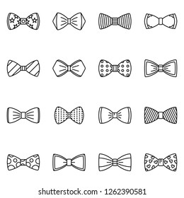 Bowtie icon set. Outline set of bowtie vector icons for web design isolated on white background