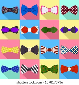 Bowtie icons set. Flat set of bowtie vector icons for web design