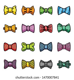 Bowtie icons set. Outline set of bowtie vector icons for web design isolated on white background
