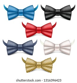 Bowtie icons set. Realistic set of bowtie vector icons for web design isolated on white background