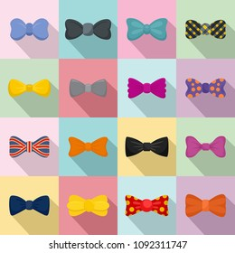 Bowtie ribbon man tuxedo icons set. Flat illustration of 16 bowtie ribbon man tuxedo vector icons for web