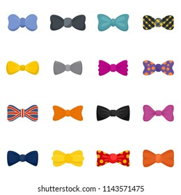 Bowtie ribbon man tuxedo icons set. Flat illustration of 16 bowtie ribbon man tuxedo vector icons isolated on white